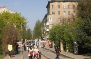 Falckensteinstraße, Berlin-Kreuzberg, Görlitzer Park, Spree, Oberbaumbrücke