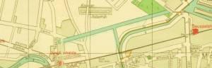 Ausschnitt aus dem Pharus-Plan von 1954 Westhafenkanal, Charlottenburg, Mitte