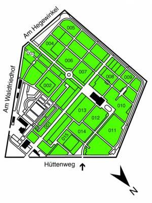 Übersichtsplan Waldfriedhof Dahlem,