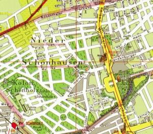 Ausschnitt aus dem Pharus-Plan von 1905 Waldstraße, Berlin-Niederschönhausen, Schloss Schönhausen, Brosepark