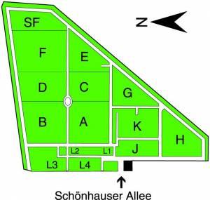Übersichtsplan Jüdischer Friedhof, Berlin-Prenzlauer Berg,