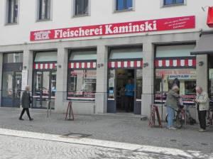 Große Straße, Fleischerei Kaminski 2016 Große Straße, Strausberg, Einkaufsstraße