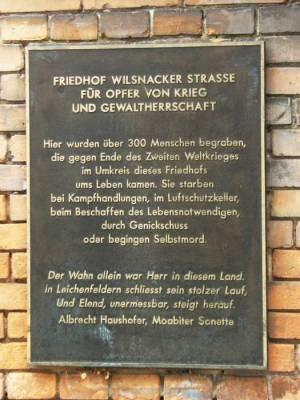 Friedhof Wilsnacker Straße, Fridhof für Opfer von Krieg und Gewaltherrschaft
