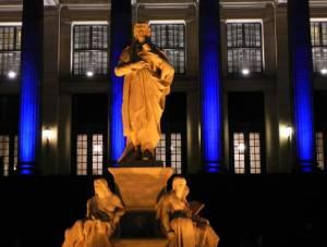 Schillerdenkmal, beim Festival of Lights 2010 Friedrich Schiller, Gendarmenmarkt