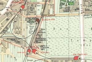 Das Gelände auf einem Pharus-Plan von 1902 Geschichtsparcours, Berlin-Tempelhof, Schwerbelastungskörper, Gedenkstätte Zwangsarbeiter, Senatslager, Eisenbahnregiment