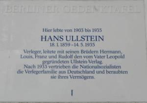 Gedenktafel für Hans Ullstein, Bettinastraße 4 Hans Ullstein, Berlin-Grunewald, Bettinastraße, Dianasee