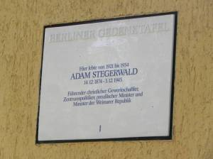 Adam Stegerwald, Berlin-Schmargendorf,