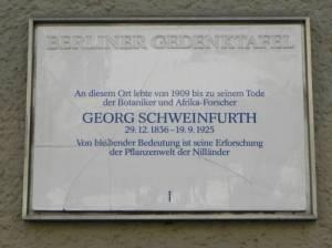 Georg Schweinfurth, Berlin-Schöneberg, Gedenktafel