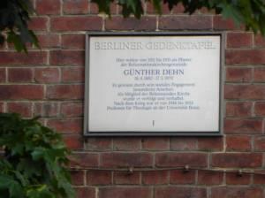Gedenktafel für Günther Dehn (2014) Günther Dehn, Berlin-Moabit, Reformationskirche