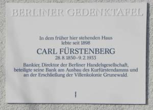 Gedenktafel für Carl Fürstenberg (2013) Carl Fürstenberg, Berlin-Grunewald, Gedenktafel