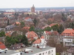 Blick über den Ortsteil Westend (2017) Westend, Berlin-Charlottenburg-Wilmersdorf, Olympiastadion, Waldbühne, Messegelände